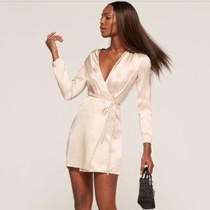 Reformation Rogers Silk Wrap Dress L NTW